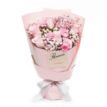 快乐的回忆-粉玫瑰+粉色康乃馨混搭