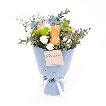 幸福平安-香槟玫瑰+雏菊混搭