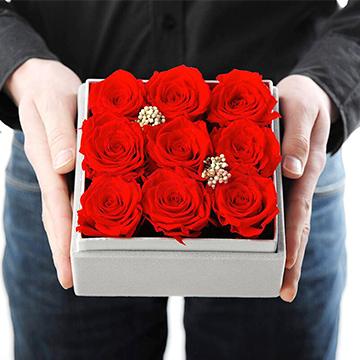 红玫瑰花盒