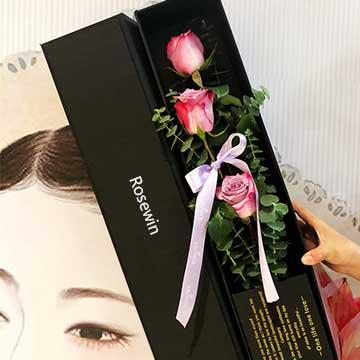 粉玫瑰花盒