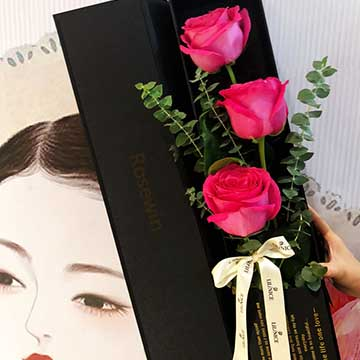 3朵粉玫瑰花盒