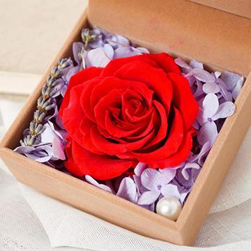 1朵红玫瑰永生花花盒