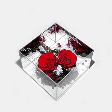 2朵红玫瑰永生花