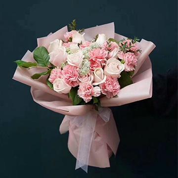 粉色康乃馨加粉百合