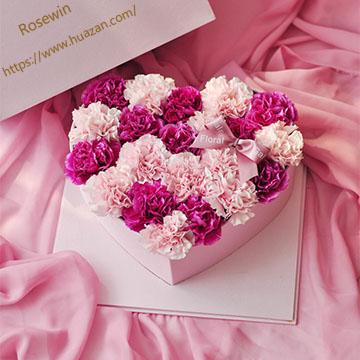 心形康乃馨花盒