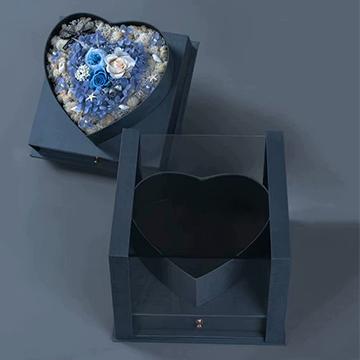 蓝色妖姬心形花盒