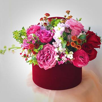 混色鲜花花盒