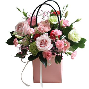 粉玫瑰手提花篮