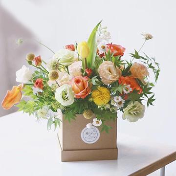 混色玫瑰花盒