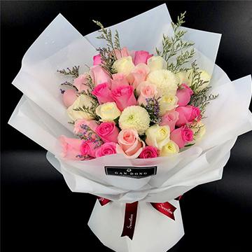 混色玫瑰花束