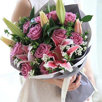 玫瑰百合花
