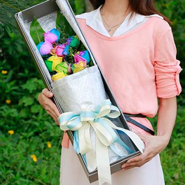9朵彩虹玫瑰