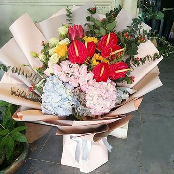 红掌花花束