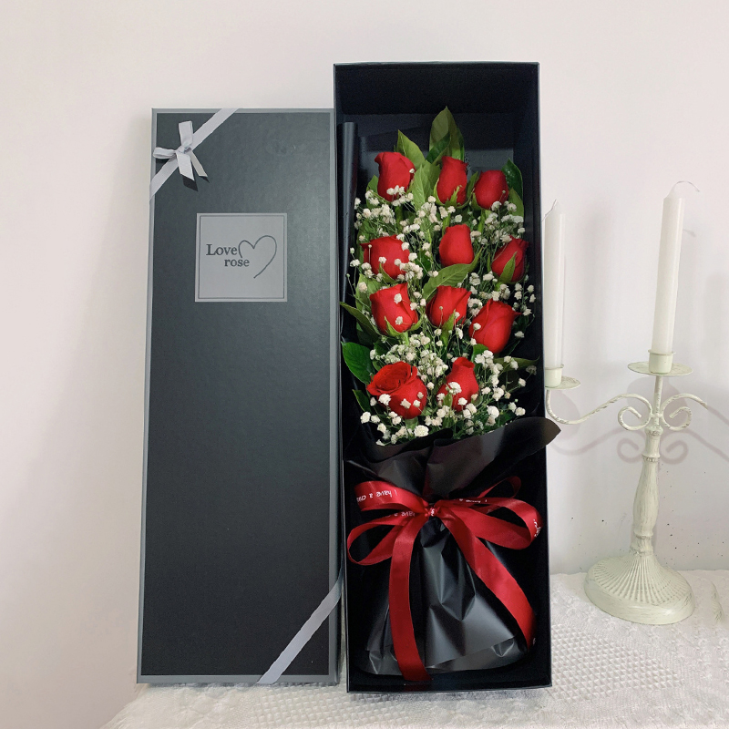 天长地久-11朵红玫瑰礼盒成都网上订花哪个比较好?在异地有什么办法可以送花