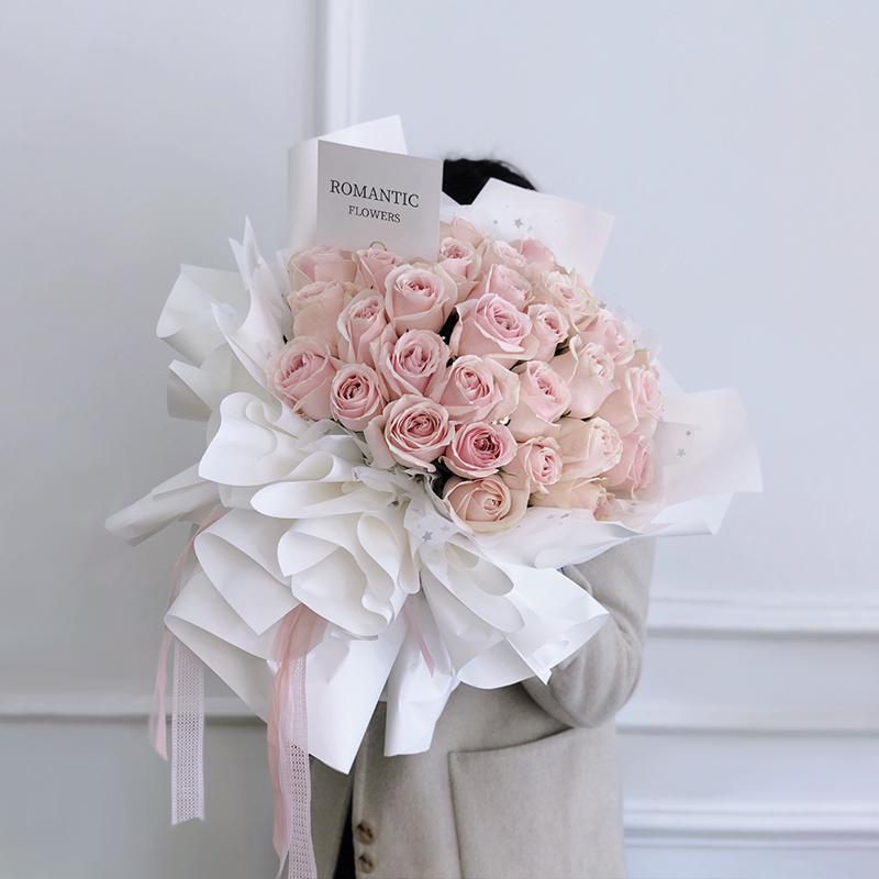 可可爱爱-33朵粉玫瑰 安阳花店哪家好?哪些生日祝福语能打动女朋友