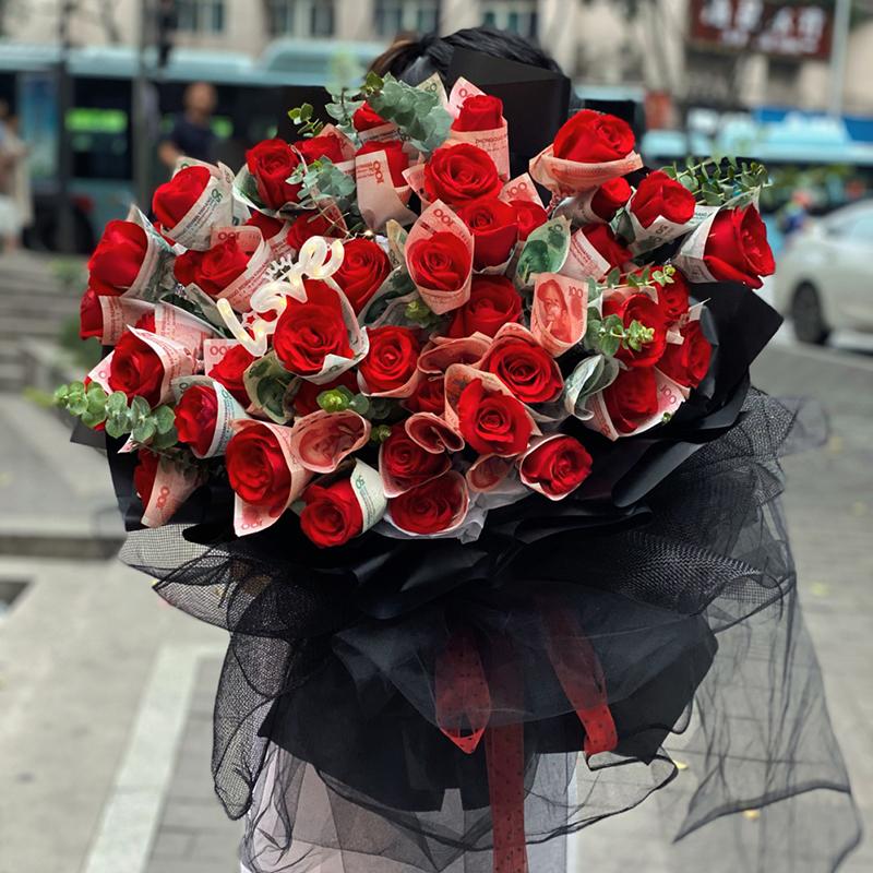翩翩起舞-52朵有钱花花束 广州鲜花app哪家好?妻子五十岁生日送花示爱 感动双倍
