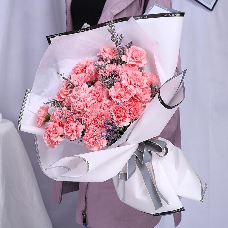 微笑的眼睛-33支粉色康乃馨