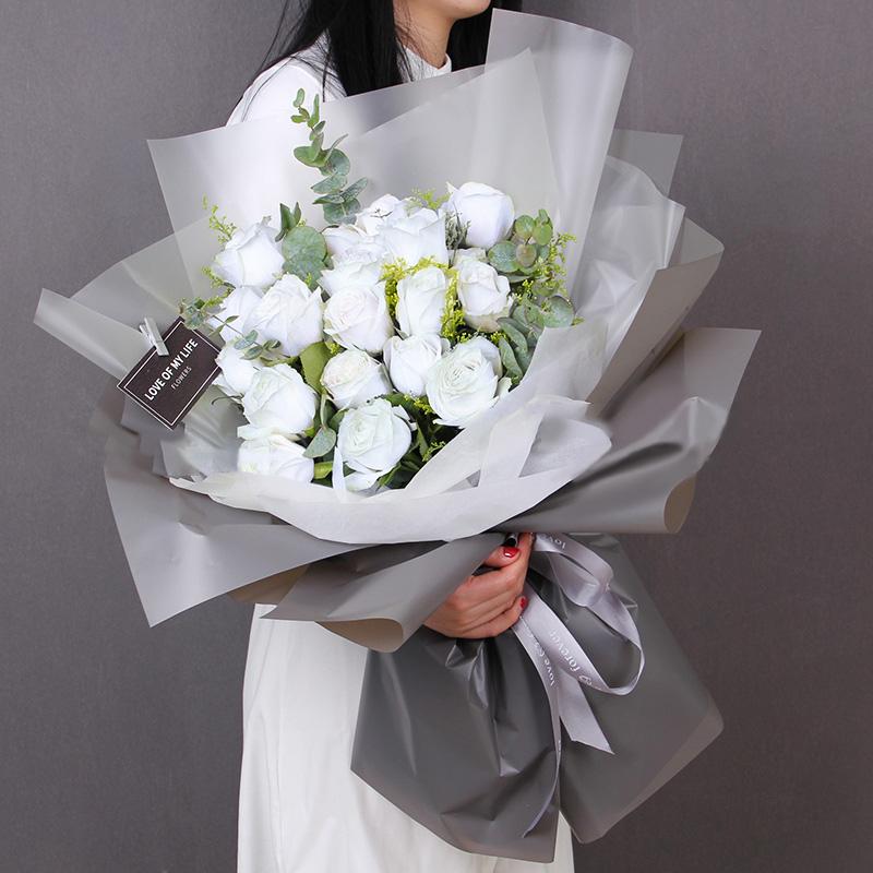 淑女品格-19朵白玫瑰 大兴安岭花店异地订花app哪家好?表达对女领导的栽培之情就送这些花