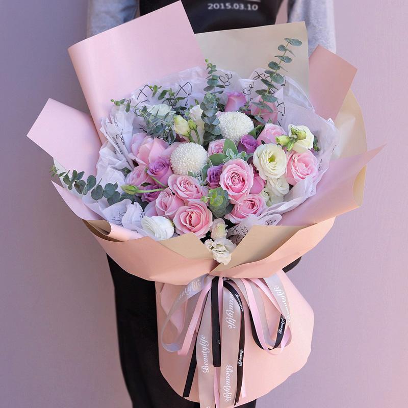 阳光使者-19朵玫瑰韩式混搭 宝鸡花店哪家好?客户生日送什么礼物既不尴尬又表祝福