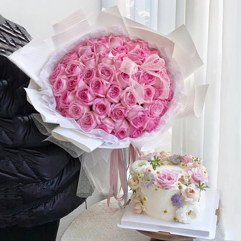 神密花园-99朵粉玫瑰+6寸蛋糕组合 惠州鲜花店哪家好?女朋友过生日哪些礼物可以送