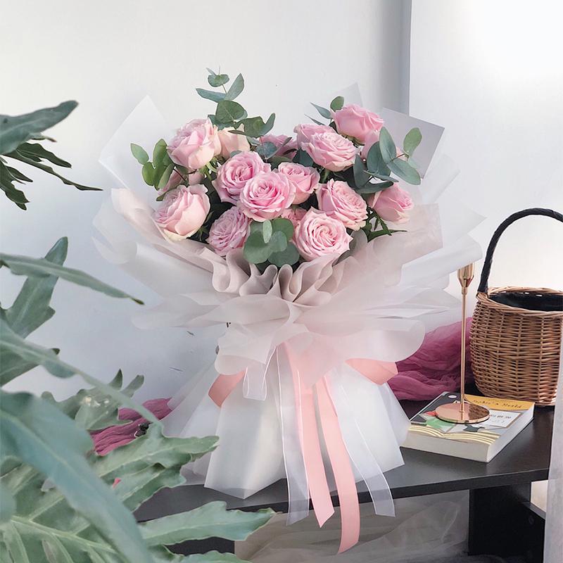 幸福满溢-19朵粉玫瑰 东莞网上花店app哪家价格更实惠?祝愿哥哥嫂子银婚的花束有哪些