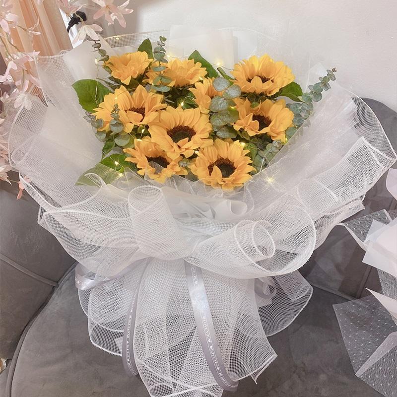 阳光清晨-9朵向日葵花束 客户生日送什么礼物合适?六安鲜花预订去哪个花店app