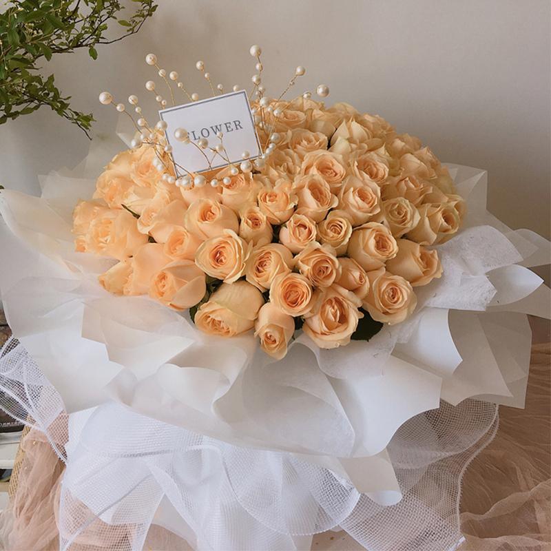 爱之守候-99朵香槟玫瑰 送哪些鲜花会获得女友的原谅?天津鲜花速递app哪家好