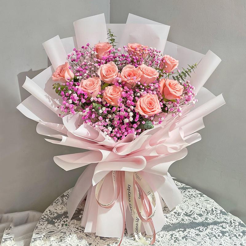 素锦年时-11朵粉玫瑰花束 产后抑郁症比较适合送什么礼物?大同鲜花店哪家好