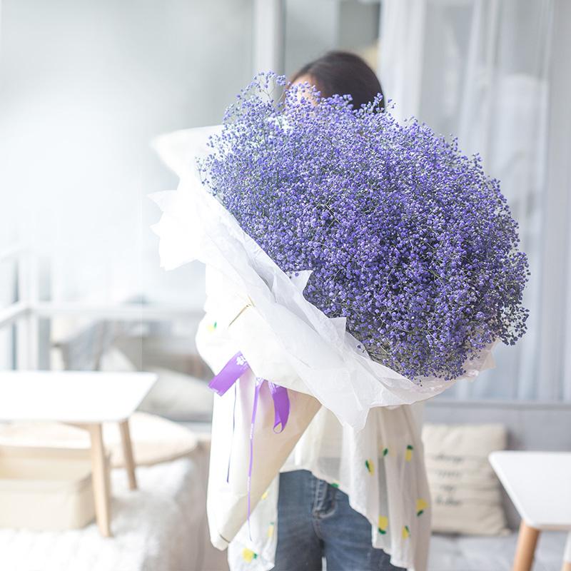 *幸福的时刻-紫色满天星熊抱花束 给女神表白哪些鲜花比较适合?大同异地鲜花预订去哪个app平台