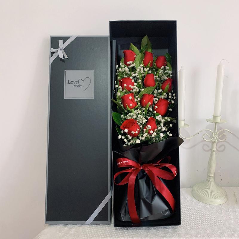 天长地久-11朵红玫瑰礼盒 哪些花象征着幸福?南充同城鲜花预订去哪个app软件