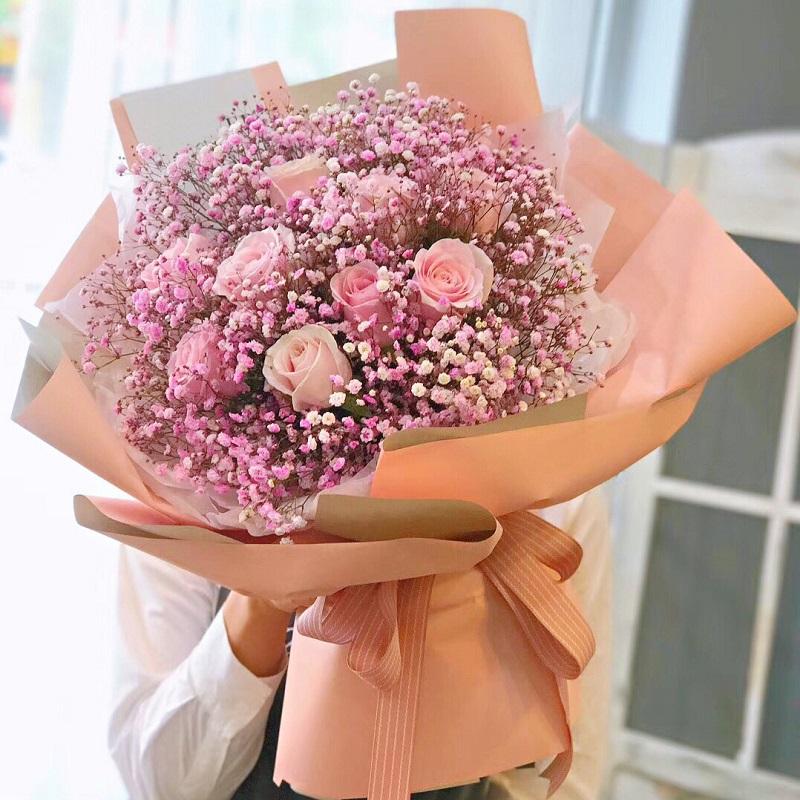 一帆风顺-9朵粉玫瑰+满天星混搭