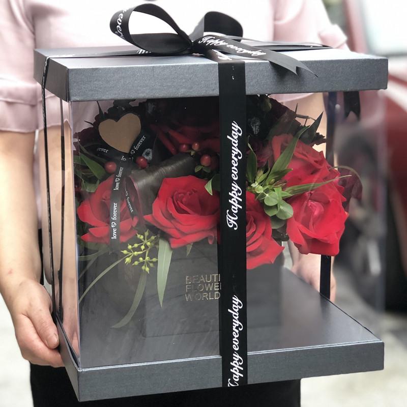 紧握幸福-19朵红玫瑰礼盒 凯里网上订花哪个鲜花平台好?姐姐过生日送什么礼物好