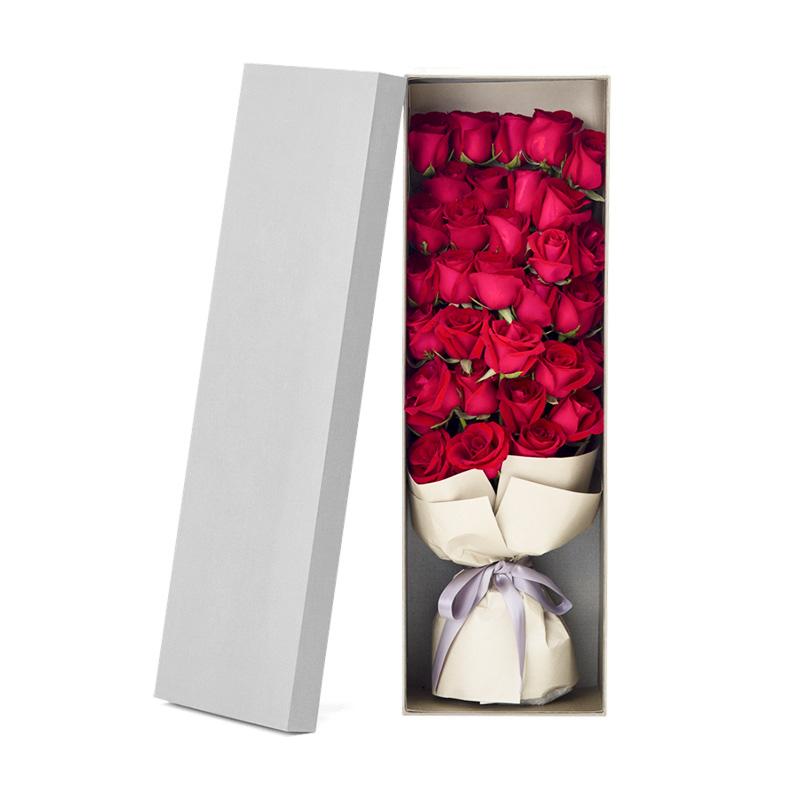 甜蜜浪漫-33朵红玫瑰礼盒 安康在线鲜花店去哪个平台订花好?撩人的结婚纪念日祝福语总有一句让她心动