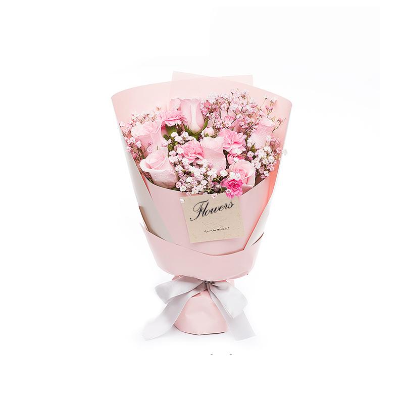 快乐的回忆-粉玫瑰+粉色康乃馨混搭 常熟在线鲜花店哪家app软件好?跟女孩初次见面可以带哪些礼物