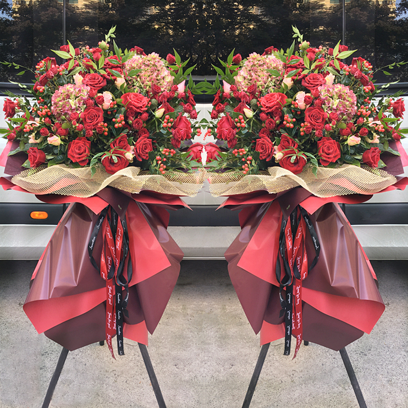 敬贺开张-红玫瑰+绣球款开业花篮