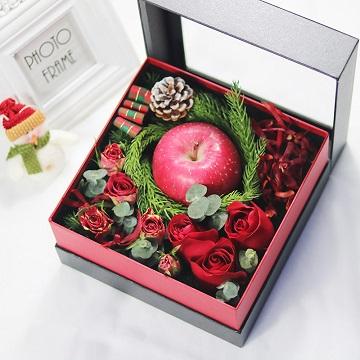 圣诞快乐-3朵红玫瑰+1颗红苹果礼盒装