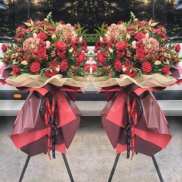 敬賀開張-紅玫瑰+繡球款開業花籃