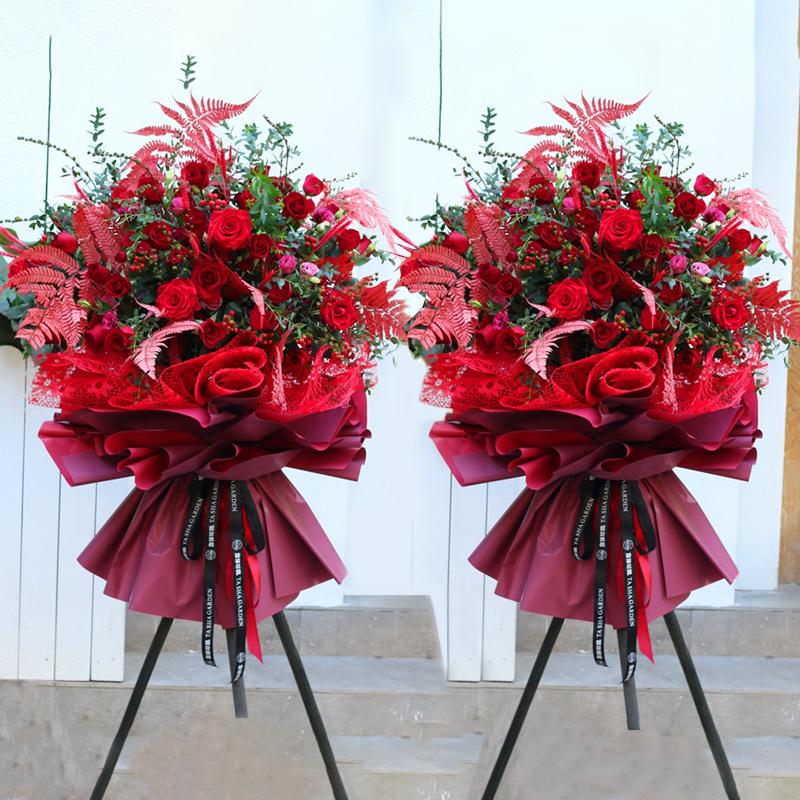 红红火火-红玫瑰开业花篮