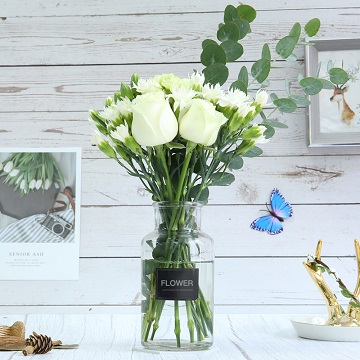 匆匆那年-白玫瑰+康乃馨混搭(送花瓶)