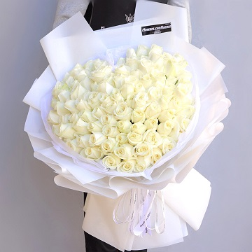 伊人如梦-99朵白玫瑰