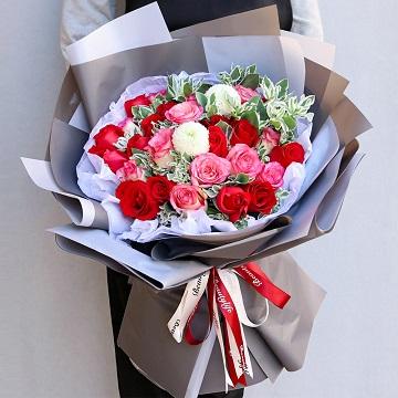 浓情-33朵混色玫瑰