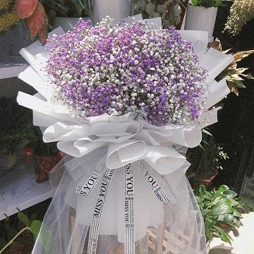 情义无价-紫色+白色满天星混搭花束